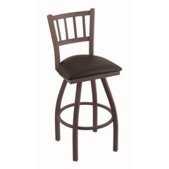 "810 Contessa 30"" Bar Stool with Bronze Finish, Allante Espresso Seat, and 360 swivel"