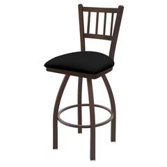 "810 Contessa 25"" Counter Stool with Bronze Finish, Black Vinyl Seat, and 360 swivel"