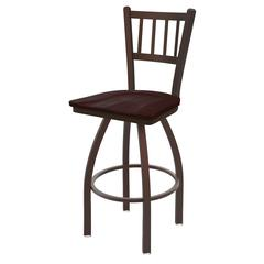 "810 Contessa 36"" Bar Stool with Bronze Finish, Dark Cherry Maple Seat, and 360 swivel"