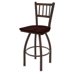 "Holland Bar Stool Co. 810 Contessa 30"" Bar Stool with Bronze Finish, Dark Cherry Oak Seat, and 360 swivel"