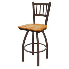 "810 Contessa 36"" Bar Stool with Bronze Finish, Medium Oak Seat, and 360 swivel"