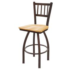 "810 Contessa 30"" Bar Stool with Bronze Finish, Natural Oak Seat, and 360 swivel"