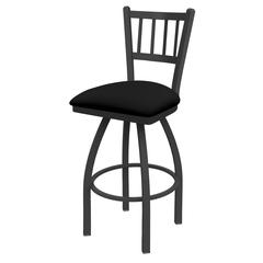 "810 Contessa 36"" Bar Stool with Pewter Finish, Black Vinyl Seat, and 360 swivel"