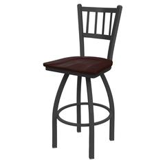 "810 Contessa 30"" Bar Stool with Pewter Finish, Dark Cherry Maple Seat, and 360 swivel"