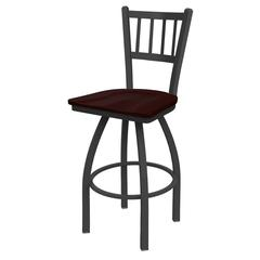 "810 Contessa 36"" Bar Stool with Pewter Finish, Dark Cherry Oak Seat, and 360 swivel"