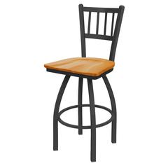 "810 Contessa 36"" Bar Stool with Pewter Finish, Medium Oak Seat, and 360 swivel"