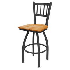"Holland Bar Stool Co. 810 Contessa 30"" Bar Stool with Pewter Finish, Medium Oak Seat, and 360 swivel"