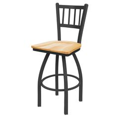 "810 Contessa 25"" Counter Stool with Pewter Finish, Natural Oak Seat, and 360 swivel"