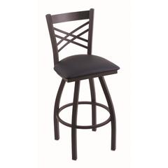 "820 Catalina 30"" Bar Stool with Black Wrinkle Finish, Allante Dark Blue Seat, and 360 swivel"