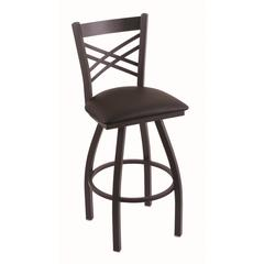 "Holland Bar Stool Co. 820 Catalina 25"" Counter Stool with Black Wrinkle Finish, Allante Espresso Seat, and 360 swivel"