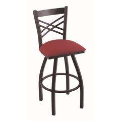 "820 Catalina 36"" Bar Stool with Black Wrinkle Finish, Allante Wine Seat, and 360 swivel"