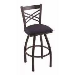 "820 Catalina 36"" Bar Stool with Black Wrinkle Finish, Axis Denim Seat, and 360 swivel"
