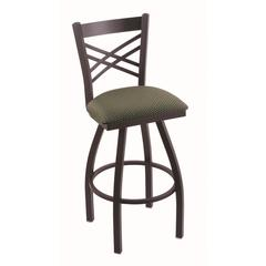 "820 Catalina 36"" Bar Stool with Black Wrinkle Finish, Axis Grove Seat, and 360 swivel"