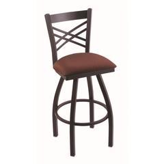 "Holland Bar Stool Co. 820 Catalina 36"" Bar Stool with Black Wrinkle Finish, Axis Paprika Seat, and 360 swivel"