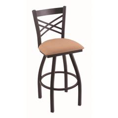 "Holland Bar Stool Co. 820 Catalina 36"" Bar Stool with Black Wrinkle Finish, Axis Summer Seat, and 360 swivel"
