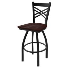 "820 Catalina 25"" Counter Stool with Black Wrinkle Finish, Dark Cherry Maple Seat, and 360 swivel"