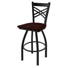"Holland Bar Stool Co. 820 Catalina 30"" Bar Stool with Black Wrinkle Finish, Dark Cherry Oak Seat, and 360 swivel"
