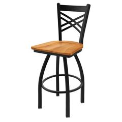 "820 Catalina 25"" Counter Stool with Black Wrinkle Finish, Medium Maple Seat, and 360 swivel"