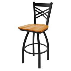 "820 Catalina 30"" Bar Stool with Black Wrinkle Finish, Medium Oak Seat, and 360 swivel"