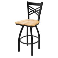 "820 Catalina 25"" Counter Stool with Black Wrinkle Finish, Natural Maple Seat, and 360 swivel"