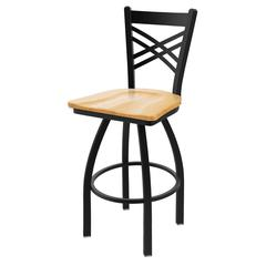 "820 Catalina 25"" Counter Stool with Black Wrinkle Finish, Natural Oak Seat, and 360 swivel"