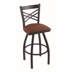 "820 Catalina 36"" Bar Stool with Black Wrinkle Finish, Rein Adobe Seat, and 360 swivel"
