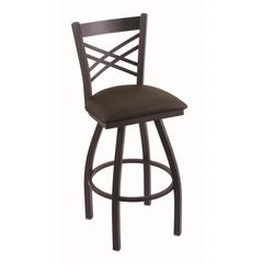 "820 Catalina 25"" Counter Stool with Black Wrinkle Finish, Rein Coffee Seat, and 360 swivel"