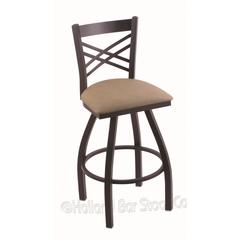 "Holland Bar Stool Co. 820 Catalina 36"" Bar Stool with Black Wrinkle Finish, Rein Thatch Seat, and 360 swivel"