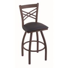 "820 Catalina 30"" Bar Stool with Bronze Finish, Allante Dark Blue Seat, and 360 swivel"