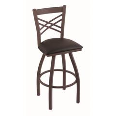 "820 Catalina 30"" Bar Stool with Bronze Finish, Allante Espresso Seat, and 360 swivel"
