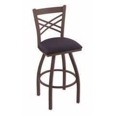 "820 Catalina 25"" Counter Stool with Bronze Finish, Axis Denim Seat, and 360 swivel"