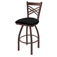 "820 Catalina 30"" Bar Stool with Bronze Finish, Black Vinyl Seat, and 360 swivel"
