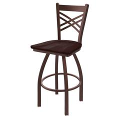 "Holland Bar Stool Co. 820 Catalina 30"" Bar Stool with Bronze Finish, Dark Cherry Maple Seat, and 360 swivel"