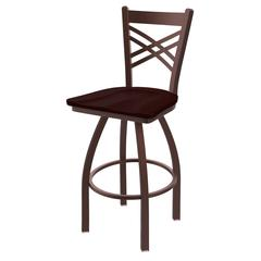 "820 Catalina 30"" Bar Stool with Bronze Finish, Dark Cherry Oak Seat, and 360 swivel"