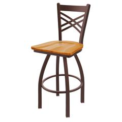 "820 Catalina 36"" Bar Stool with Bronze Finish, Medium Oak Seat, and 360 swivel"