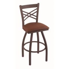 "820 Catalina 30"" Bar Stool with Bronze Finish, Rein Adobe Seat, and 360 swivel"