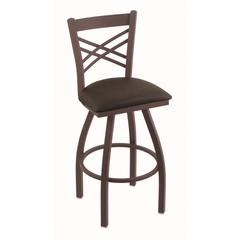 "820 Catalina 25"" Counter Stool with Bronze Finish, Rein Coffee Seat, and 360 swivel"