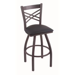 "820 Catalina 30"" Bar Stool with Pewter Finish, Allante Dark Blue Seat, and 360 swivel"