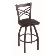 "Holland Bar Stool Co. 820 Catalina 36"" Bar Stool with Pewter Finish, Allante Espresso Seat, and 360 swivel"