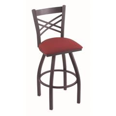 "820 Catalina 30"" Bar Stool with Pewter Finish, Allante Wine Seat, and 360 swivel"