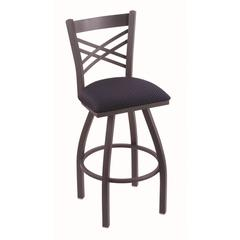 "820 Catalina 25"" Counter Stool with Pewter Finish, Axis Denim Seat, and 360 swivel"