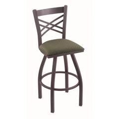 "Holland Bar Stool Co. 820 Catalina 36"" Bar Stool with Pewter Finish, Axis Grove Seat, and 360 swivel"