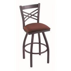 "Holland Bar Stool Co. 820 Catalina 30"" Bar Stool with Pewter Finish, Axis Paprika Seat, and 360 swivel"