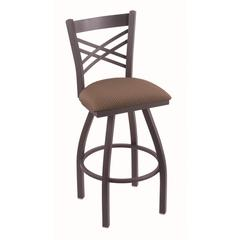 "820 Catalina 36"" Bar Stool with Pewter Finish, Axis Willow Seat, and 360 swivel"