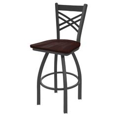 "820 Catalina 25"" Counter Stool with Pewter Finish, Dark Cherry Maple Seat, and 360 swivel"