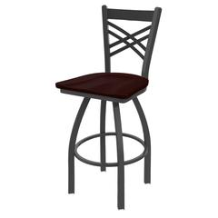 "820 Catalina 25"" Counter Stool with Pewter Finish, Dark Cherry Oak Seat, and 360 swivel"