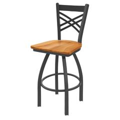 "820 Catalina 25"" Counter Stool with Pewter Finish, Medium Maple Seat, and 360 swivel"