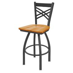"820 Catalina 25"" Counter Stool with Pewter Finish, Medium Oak Seat, and 360 swivel"