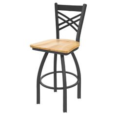 "Holland Bar Stool Co. 820 Catalina 25"" Counter Stool with Pewter Finish, Natural Maple Seat, and 360 swivel"
