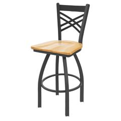 "Holland Bar Stool Co. 820 Catalina 30"" Bar Stool with Pewter Finish, Natural Oak Seat, and 360 swivel"